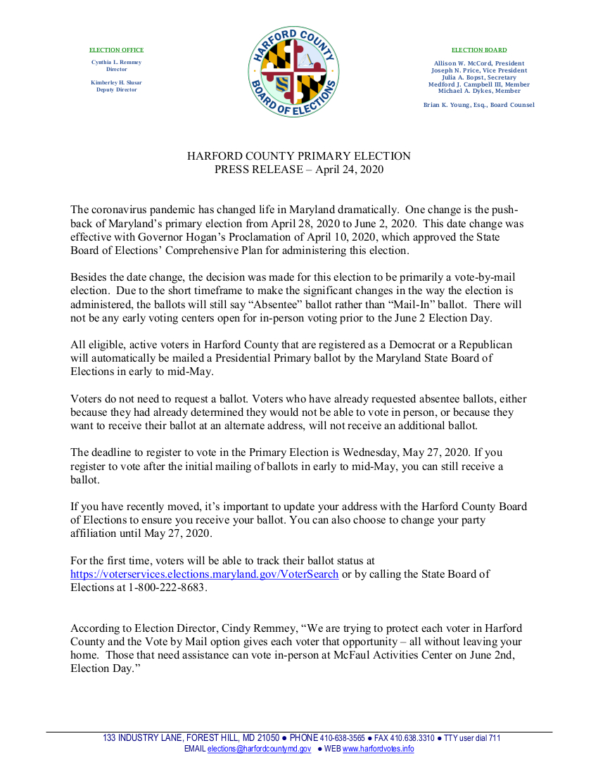 Primary election Date Press Release